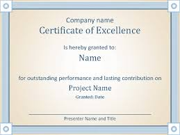 Certificate Of Excellence Template Word Certificates Office 6