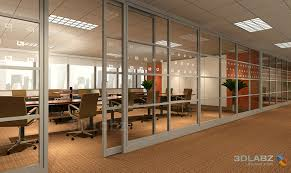 glass office wall. glass wall interior 3d render office f