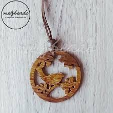 details about wooden bird pendant necklace long natural earth tone women las bead