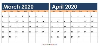 Download March April 2020 Calendar Colorful Design 2020