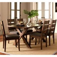 milano rustic knotty shaped edge ladder back dining set 1 table 4 chairs 1 bench brown