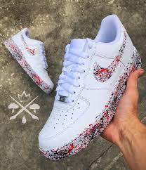 Cool Air Force One Designs Splatter Air Force 1 Nike Red Black Sneakers Custom Air