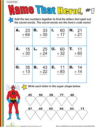 Name That Hero! Two-Digit Addition Worksheets | Education.comTwo-Digit Addition #1