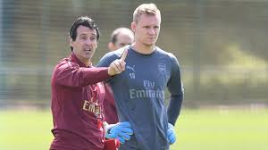Image result for emery and arsenal's goalkeeper