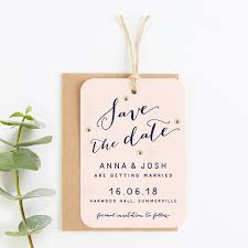 Save The Date No Photo Calligraphy Collection Blush And Navy Save The Date With Gold Gems