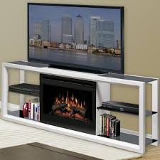 small corner electric fireplace tv stand with white oakfield wall