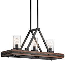 kichler 43433aub colerne 3 light 36 wide linear chandelier with seedy glass shades auburn stained
