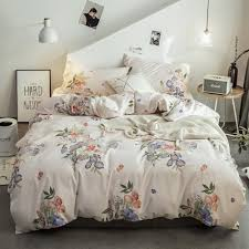 brushed cotton bedding set come with duvet cover and flat sheet and pillow cases king size