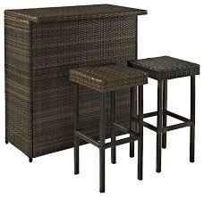 Palm Harbor 3-Piece Outdoor Wicker Bar Set - Tropical - Outdoor ...