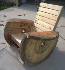 rocking chair i made from cable reels wooden spool idea very comfortable
