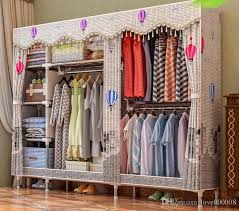 2018 storage drawers closet organizer storage rack portable wardrobe garment hanger three rods with shelves all steel frame structure from love000008