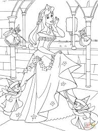 Small Picture Princess Aurora with Good Fairies coloring page Free Printable