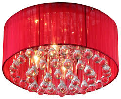 erinyes red shaded crystal and chrome ceiling lamp