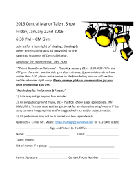 Cm Talent Show Coming This January Central Manor Elementary