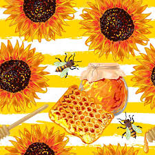 seamless food pattern with honey combs hive bee wooden stick and sunflower hand drawn natural organic eco honey vector background