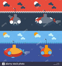 yellow and gray submarine underwater front and side view kids book picture digital background vector ilration