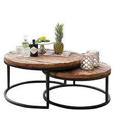 recycled wood industrial round coffee