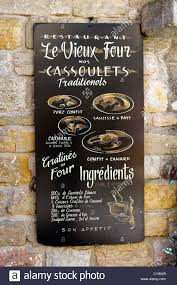 Menu Board For Cassoulets Outside A Restaurant In The Medieval