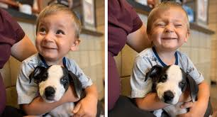 boy with a cleft palate adopts a dog