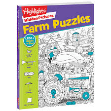 Mother and two young children are shopping in a supermarket. Hidden Pictures Farm Puzzles Highlights For Children