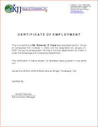 Employment Certification Letter Sample 4 Infoe Link