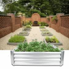 corrugated metal raised garden bed planter box flower vegetable with lining