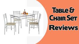 Vecelo 5 Pcs Glass Dining Table With 4 Chairs Table Chair Set