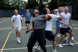 Obama And Cabinet Filebarack Obama Playing Basketball With Members Of Congress And