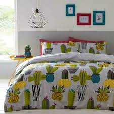 details about grey white yellow green cactus cacti theme double duvet cover bedding set