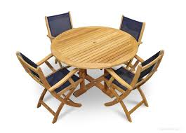 4 teak and navy mesh folding chairs