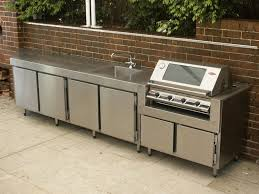 stainless steel outdoor kitchen. Full Stainless Steel 2 Door Fridge And BBQ Unit. Work Top With Seamless Sink. Outdoor Kitchen O