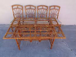 vintage rattan bamboo dining patio set table 4 four chairs hollywood regency