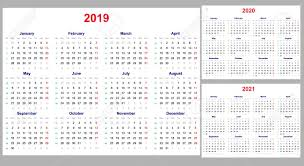 Calander Years Calendar Grid For 2019 2020 And 2021 Years Set The Week Starts