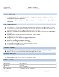 Sap Fico Resume With 3 Years Experience Instant Download