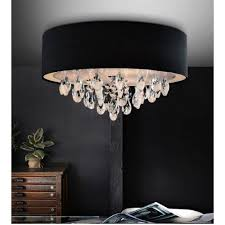 cwi lighting 5443c14c black dash 3 light drum shade flush mount in chrome