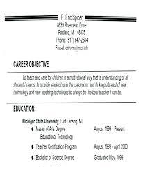 Resume For Teachers Examples Enchanting Teaching Objectives For Resume Universitypress