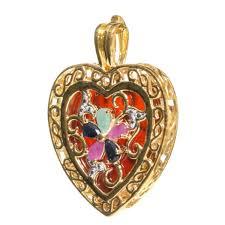 vermeil sterling silver necklace 16 ornate large heart pendant cz multi colors stones