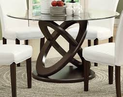monarch specialties dining table 48dia espresso with tempered glass i 1749 hover to zoom