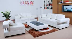 Awesome White Gallery Leather Living Room Set Decor 3 Piece All