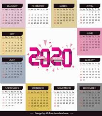 Plain Calendar 2020 2020 Calendar Template Bright Modern Colorful Plain Decor
