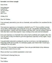 Bartender Cover Letter Example   forums learnist org
