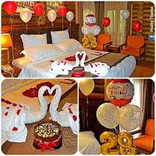 romantic decorated hotel room for his
