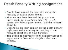 cruel and unusual punishment the death penalty ppt death penalty writing assignment