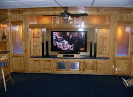 Home Theater Cabinet Fan Wonderful Home Theater Decor With Brown Leather Sofa And Charming
