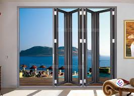 coated glass grey aluminium sliding doors soundproof aluminium bifold doors