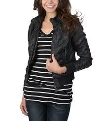 all gone black faux leather er jacket