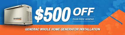 generac logo. $500 Off Generac Whole Home Generator Installation Logo