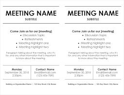 staff meeting flyer meeting flyer templates for word