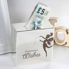 personalised silver money box fairy wishes