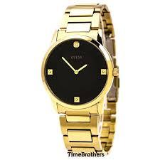 guess men s u0428g1 sleek gold tone watch diamond accented guess men s u0428g1 sleek gold tone watch diamond accented black dial